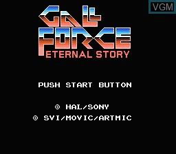 Image de l'ecran titre du jeu Gall Force - Eternal Story sur Nintendo Famicom Disk