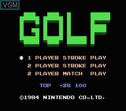 Image de l'ecran titre du jeu Golf sur Nintendo Famicom Disk