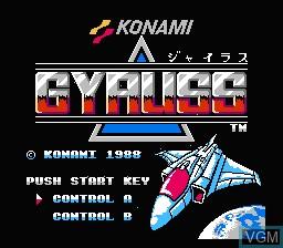 Image de l'ecran titre du jeu Gyruss sur Nintendo Famicom Disk