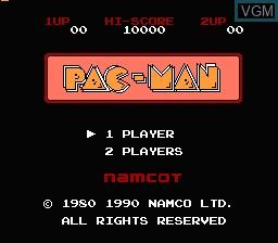 Image de l'ecran titre du jeu Pac-Man sur Nintendo Famicom Disk