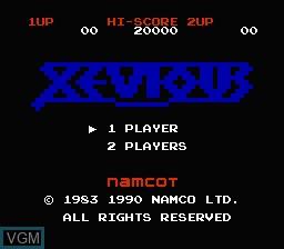 Image de l'ecran titre du jeu Xevious sur Nintendo Famicom Disk