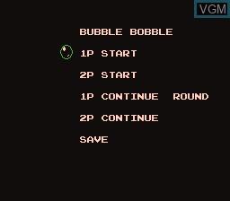 Image du menu du jeu Bubble Bobble sur Nintendo Famicom Disk