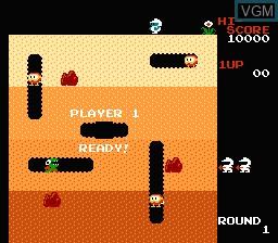 Image du menu du jeu Dig Dug sur Nintendo Famicom Disk