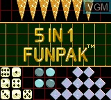 Image de l'ecran titre du jeu 5 in 1 Funpak sur Sega Game Gear
