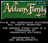 Image de l'ecran titre du jeu Addams Family, The sur Sega Game Gear