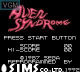 Image de l'ecran titre du jeu Alien Syndrome sur Sega Game Gear