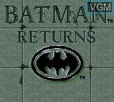 Image de l'ecran titre du jeu Batman Returns sur Sega Game Gear