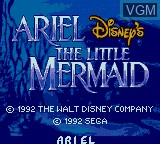 Image de l'ecran titre du jeu Ariel - The Little Mermaid sur Sega Game Gear