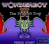 Image de l'ecran titre du jeu Wonder Boy - The Dragon's Trap sur Sega Game Gear