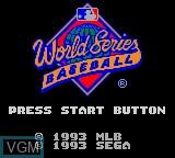 Image de l'ecran titre du jeu World Series Baseball sur Sega Game Gear