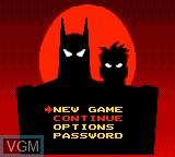 Image du menu du jeu Adventures of Batman & Robin, The sur Sega Game Gear