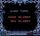Image du menu du jeu Wizard Pinball sur Sega Game Gear