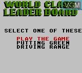 Image du menu du jeu World Class Leader Golf sur Sega Game Gear