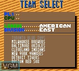 Image du menu du jeu World Series Baseball sur Sega Game Gear