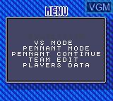 Image du menu du jeu World Series Baseball '95 sur Sega Game Gear
