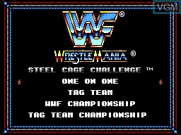 Image du menu du jeu WWF Steel Cage Challenge sur Sega Game Gear
