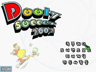 Image de l'ecran titre du jeu Dooly Soccer 2002 sur GamePark Holdings Game Park 32