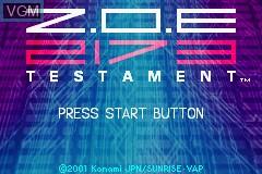 Image de l'ecran titre du jeu Z.O.E. 2173 - Testament sur Nintendo GameBoy Advance