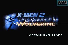 Image de l'ecran titre du jeu X-Men 2 - La Vengeance de Wolverine sur Nintendo GameBoy Advance