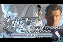 Image de l'ecran titre du jeu 007 - Everything or Nothing sur Nintendo GameBoy Advance