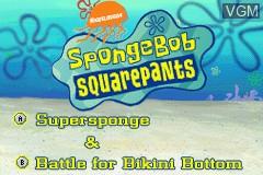 Image de l'ecran titre du jeu 2 Games in 1 - SpongeBob SquarePants - SuperSponge & Battle for Bikini Bottom sur Nintendo GameBoy Advance