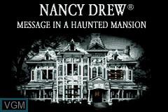 Image de l'ecran titre du jeu Nancy Drew - Message in a Haunted Mansion sur Nintendo GameBoy Advance