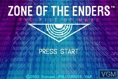 Image de l'ecran titre du jeu Zone of the Enders - The Fist of Mars sur Nintendo GameBoy Advance