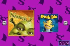 Image de l'ecran titre du jeu 2-in-1 - Shark Tale & Shrek 2 sur Nintendo GameBoy Advance