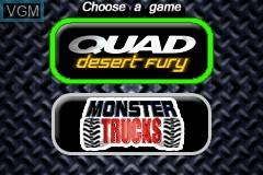 Image de l'ecran titre du jeu 2-in-1 - Quad Desert Fury & Monster Trucks sur Nintendo GameBoy Advance