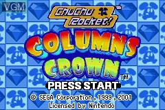 Image de l'ecran titre du jeu 2 Games in 1 - Columns Crown & Chu Chu Rocket! sur Nintendo GameBoy Advance