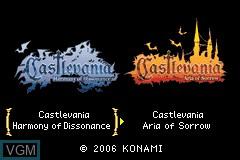 Image de l'ecran titre du jeu 2-in-1 - Castlevania Double Pack - Harmony of Dissonance & Aria of Sorrow sur Nintendo GameBoy Advance
