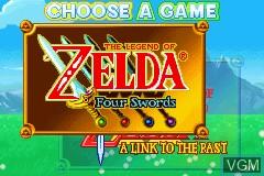 Image du menu du jeu Legend of Zelda, The - A Link to the Past & Four Swords sur Nintendo GameBoy Advance