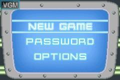 Image du menu du jeu Adventures of Jimmy Neutron Boy Genius, The - Jet Fusion sur Nintendo GameBoy Advance