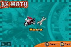 Image du menu du jeu XS Moto sur Nintendo GameBoy Advance