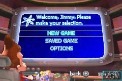 Image du menu du jeu Adventures of Jimmy Neutron Boy Genius, The - Attack of the Twonkies sur Nintendo GameBoy Advance