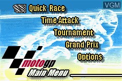 Image du menu du jeu 2 Games in 1 - GT Advance 3 & Moto GP sur Nintendo GameBoy Advance