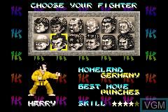Image du menu du jeu International Karate Advanced sur Nintendo GameBoy Advance