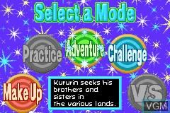 Image du menu du jeu Kurukuru Kururin sur Nintendo GameBoy Advance