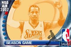 Image du menu du jeu NBA Jam 2002 sur Nintendo GameBoy Advance