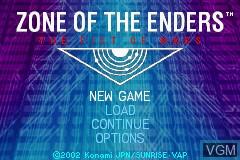 Image du menu du jeu Zone of the Enders - The Fist of Mars sur Nintendo GameBoy Advance