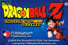 Image du menu du jeu 2-in-1 - Dragon Ball Z Gamepack - The Legacy of Goku I & II sur Nintendo GameBoy Advance