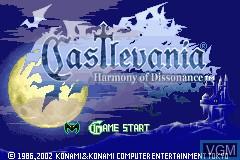 Image du menu du jeu 2-in-1 - Castlevania Double Pack - Harmony of Dissonance & Aria of Sorrow sur Nintendo GameBoy Advance