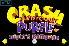 Image du menu du jeu 2-in-1 - Crash Bandicoot Purple - Ripto's Rampage & Spyro Orange - The Cortex Conspiracy sur Nintendo GameBoy Advance