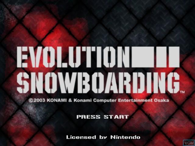 Image de l'ecran titre du jeu Evolution Snowboarding sur Nintendo GameCube