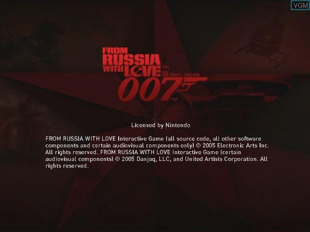 Image de l'ecran titre du jeu 007 - From Russia with Love sur Nintendo GameCube