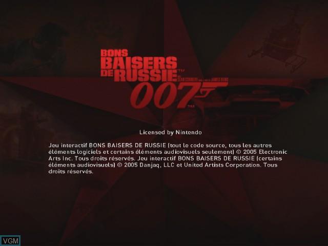 Image de l'ecran titre du jeu 007 - Bons Baisers de Russie sur Nintendo GameCube