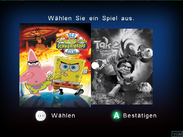 Image de l'ecran titre du jeu 2 Games in 1 - Nickelodeon SpongeBob Schwammkopf - Der Film + Nickelodeon Tak 2 - Der Stab der Traeume sur Nintendo GameCube