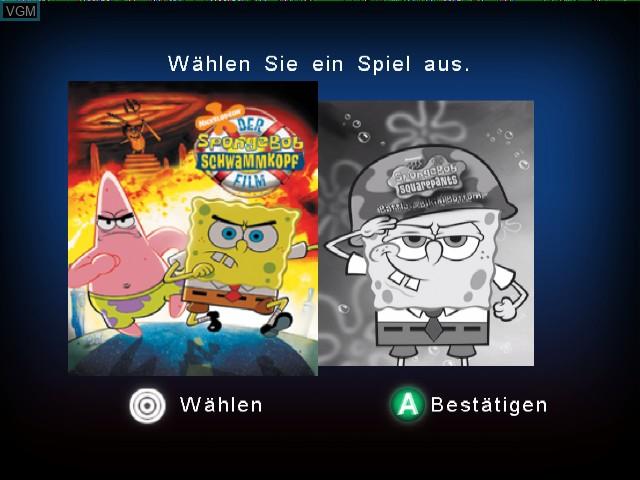 Image de l'ecran titre du jeu 2 Games in 1 - Nickelodeon SpongeBob Schwammkopf - Der Film + Nickelodeon SpongeBob Schwammkopf - Schlacht um Bikini Bottom sur Nintendo GameCube