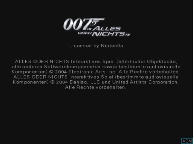 Image de l'ecran titre du jeu 007 - Alles oder Nichts sur Nintendo GameCube