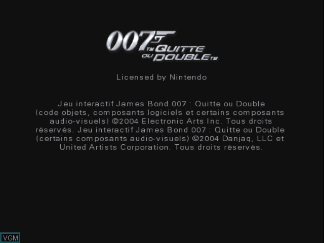 Image de l'ecran titre du jeu 007 - Quitte ou Double sur Nintendo GameCube